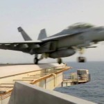 Aircraft Carrier Launches Strike Aircraft