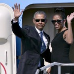 Barack Obama And Michelle Obama Departing In Air Force One