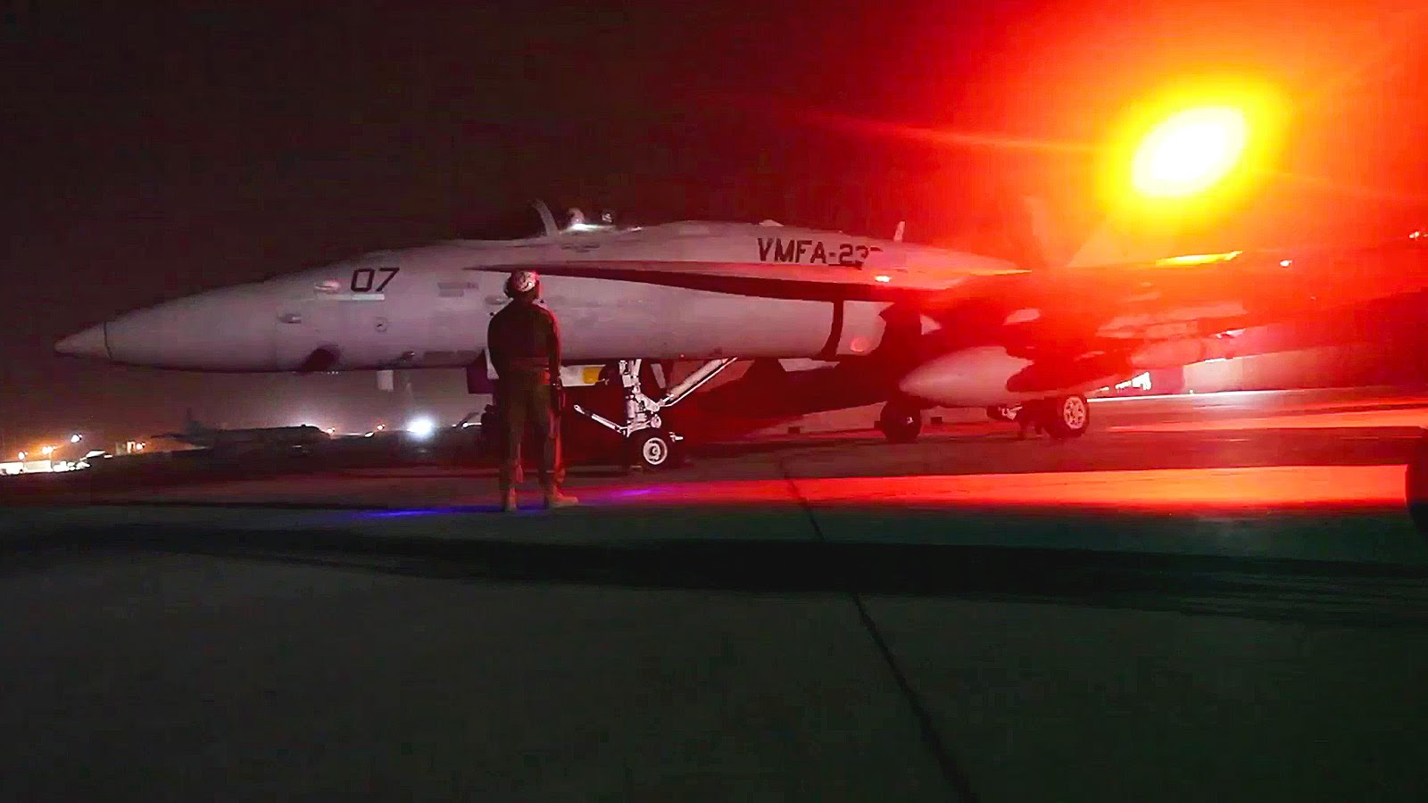 F-18 Hornets Nighttime Ground Ops – Prepare and Launch
