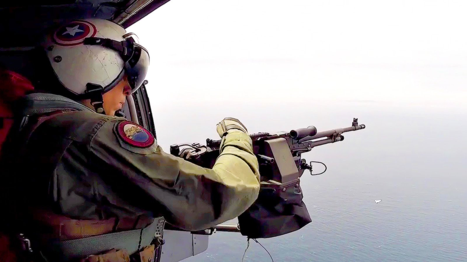 Helicopter Door Gunner Shoots Down Target Drone
