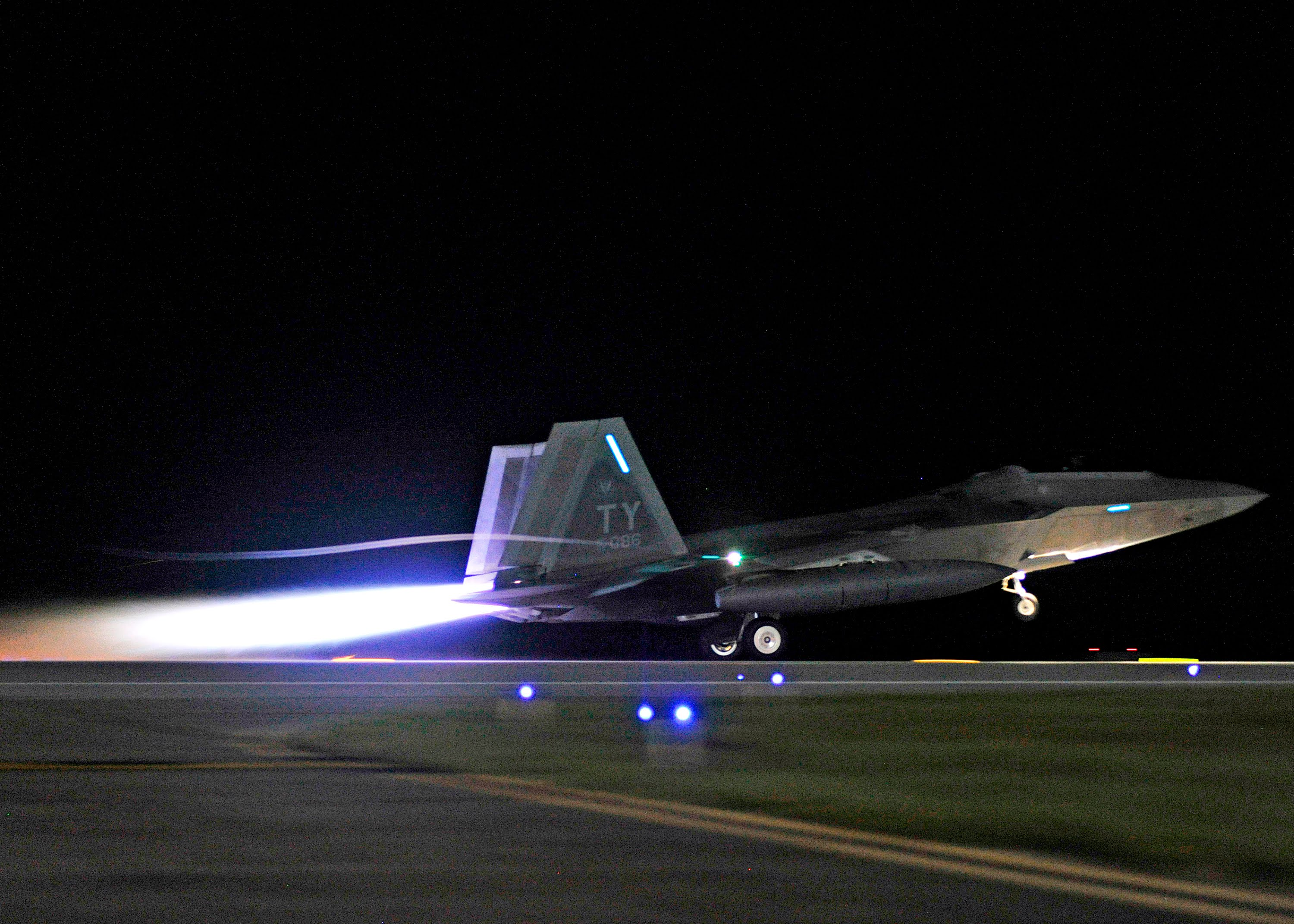 Magnificent F-22 Raptor Night Takeoff