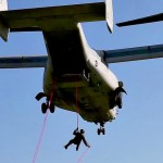 US Marines Fast-Roping Out Of V-22 Osprey