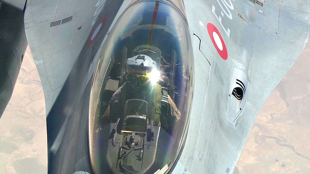 Denmark Flyvevåbnet F-16 Fighters Mid Air Refueling By USAF KC-10