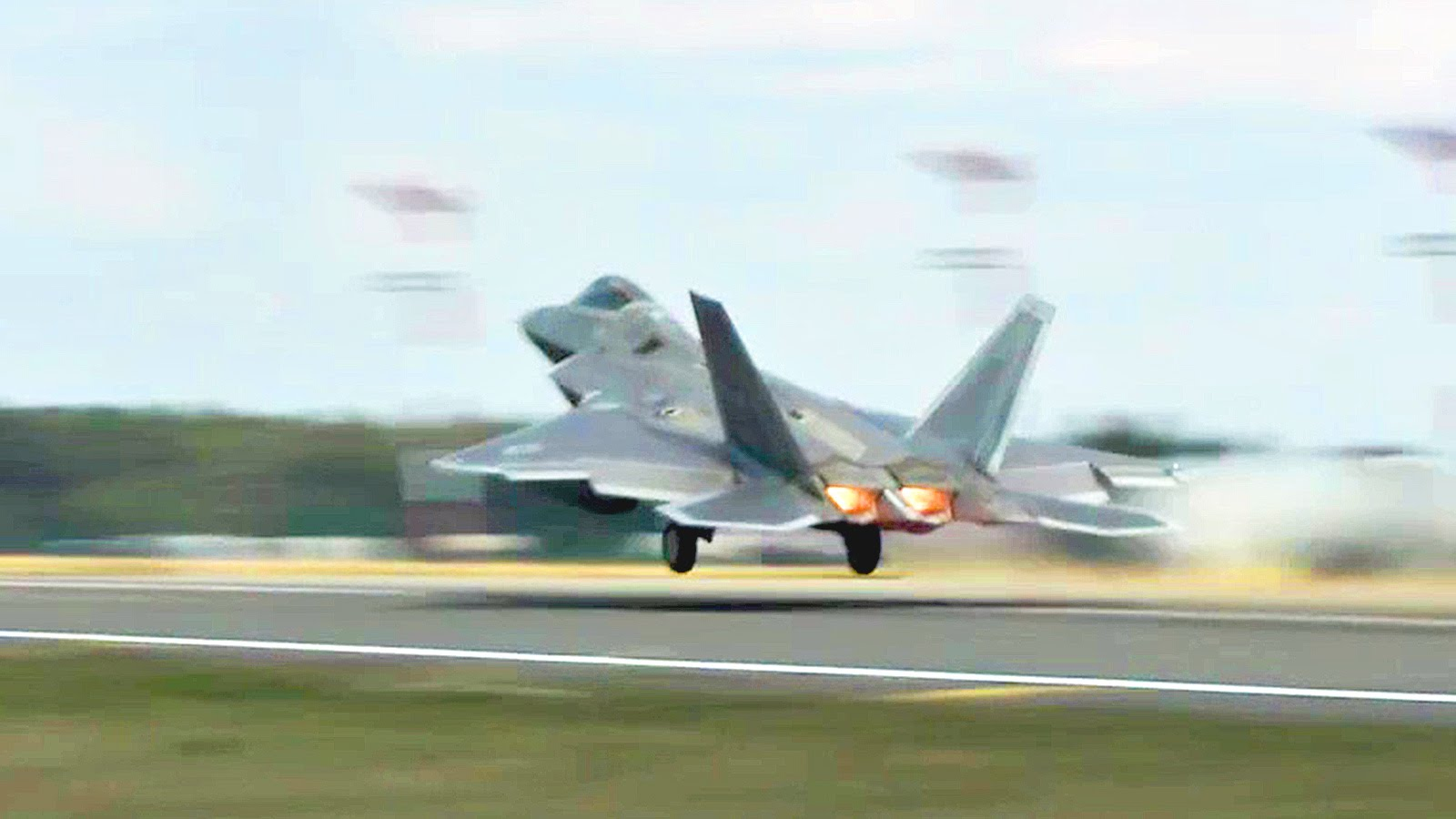 F-22 Raptors Takeoff From Germany