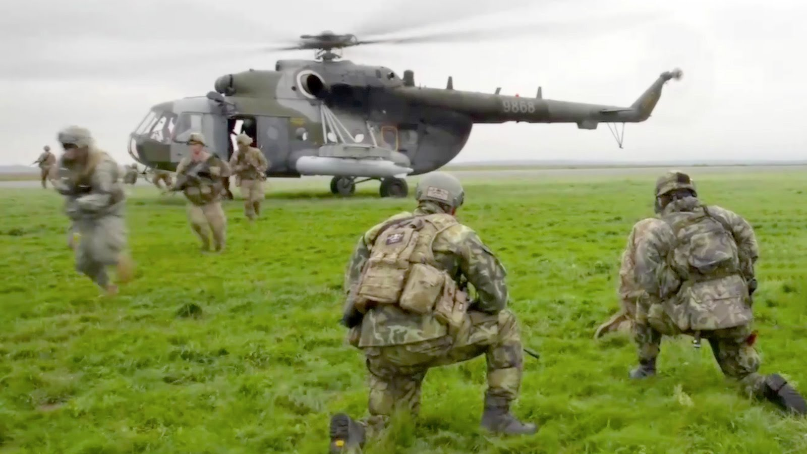 U.S. Army & Czech Army Paratroopers in Air Assault Operation