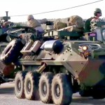 U.S. Marines Light Armored Vehicles Convoy Through Spain