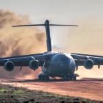 C-17 Dirt Airstrip Landing & Takeoff, Unloads AH-64.
