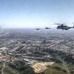 CH-53E Super Stallion Helicopters Mass Formation Flight Over San Diego