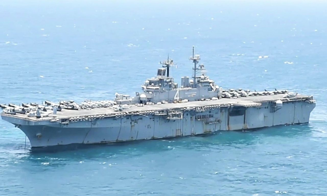 aircraft elevator on amphibious assault ship uss boxer