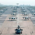 US Air Force Aircraft Elephant Walk At Kadena Air Base, Japan
