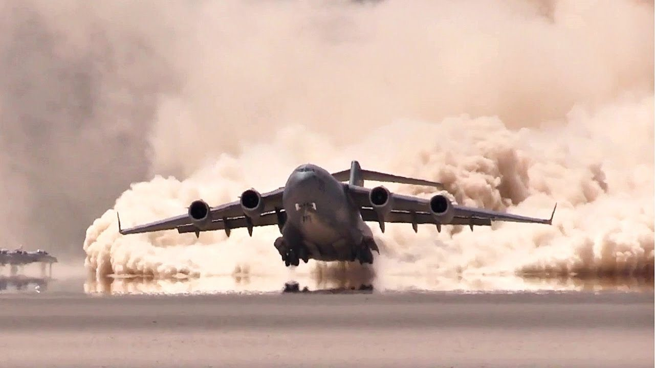 C 17 On Aircraft Carrier Watch This C-17 Making...