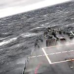 Navy Destroyer USS John S. McCain Pierce Through Rough Seas