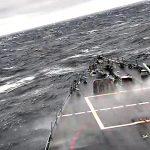 Navy Destroyer USS John S. McCain Pierce Through Rough Seas