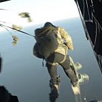 Chilean Forces Conduct Static Line Jumps From CH-47 Helicopter