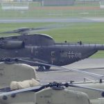 German Air Force CH-53 Helicopter Takes Off From Katterbach Army Airfield, Ansbach Germany